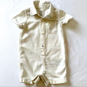 Baby Gap Button-Front Shorty One-Piece in Cream